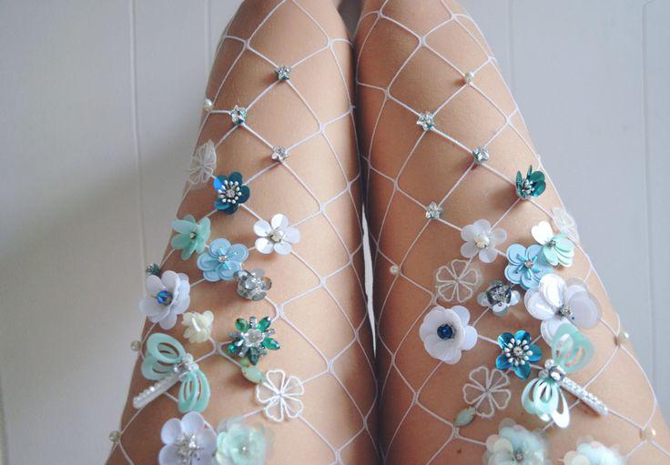 Mint Flowery Fishnet Tights by LirikasByLirika on Etsy