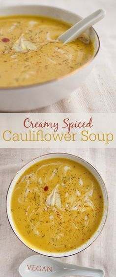 Creamy Spiced Cauliflower Soup | minus garlic - Produce On Parade - Luxurious and silky, this coconut-creamed cauliflower soup is infused with aromatic spices like cardamom, cumin, coriander, and turmeric. So good, it's the only cauliflower soup you'll ever want to make.