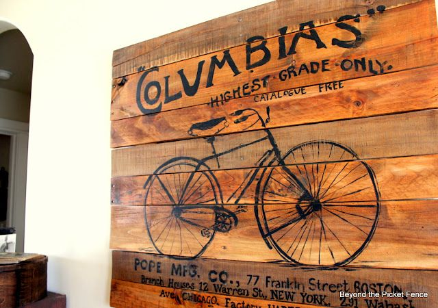 Pallet Art: Picket Fences, Bicycles, Pallets Art, Bike, Pallets Signs, Pallets Wall Art, Pallets Wood, Pallet Art, Pallets Projects