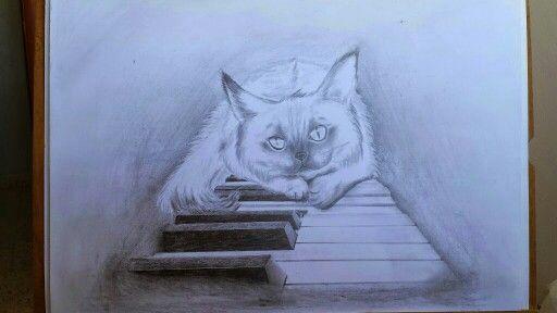 Кот рисунок карандаш