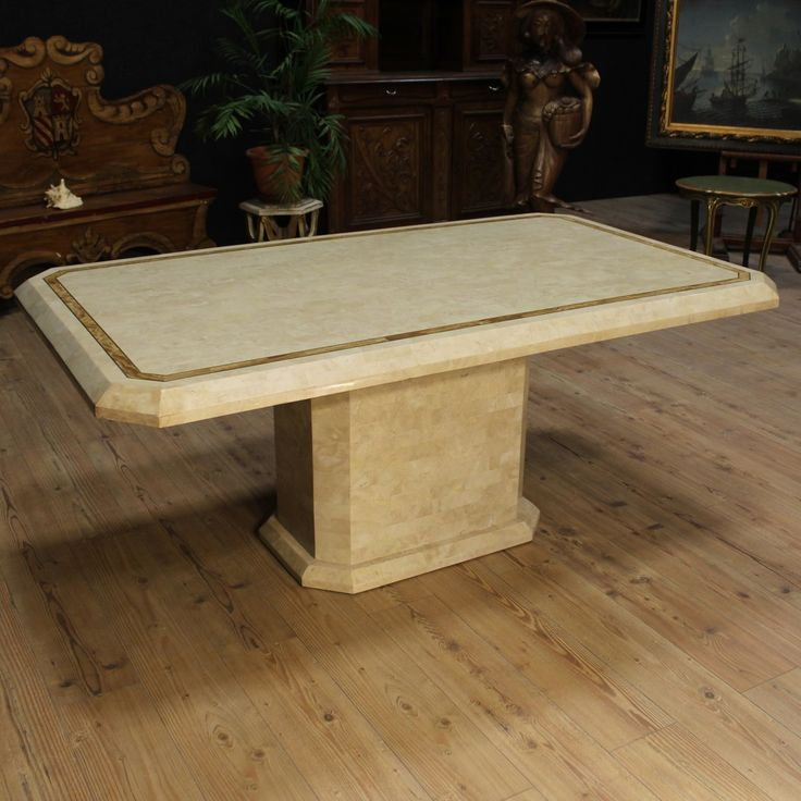 Price: 2200€ Table in style art deco France 20th century. Furniture veneered with marble plaques and gilding decorations. Upper top decorated with side band. Table with central shank built in two separable bodies. It presents on the stand the lack of a marble foil. In general, in good condition. #antiques #antiquariato Visit our website www.parino.it