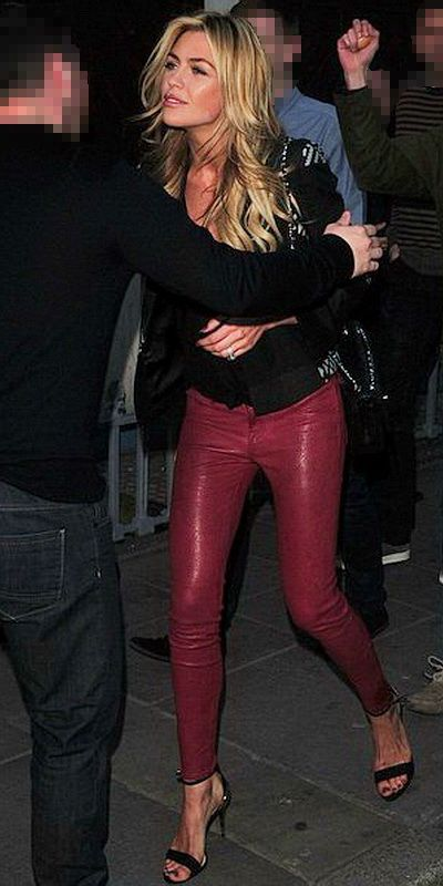 Abbey Crouch dons fantastic red Leather Pants