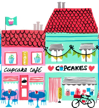 Cute illustrations by Jenny Bowers drawing neighborhood city cupcake shop cafe…