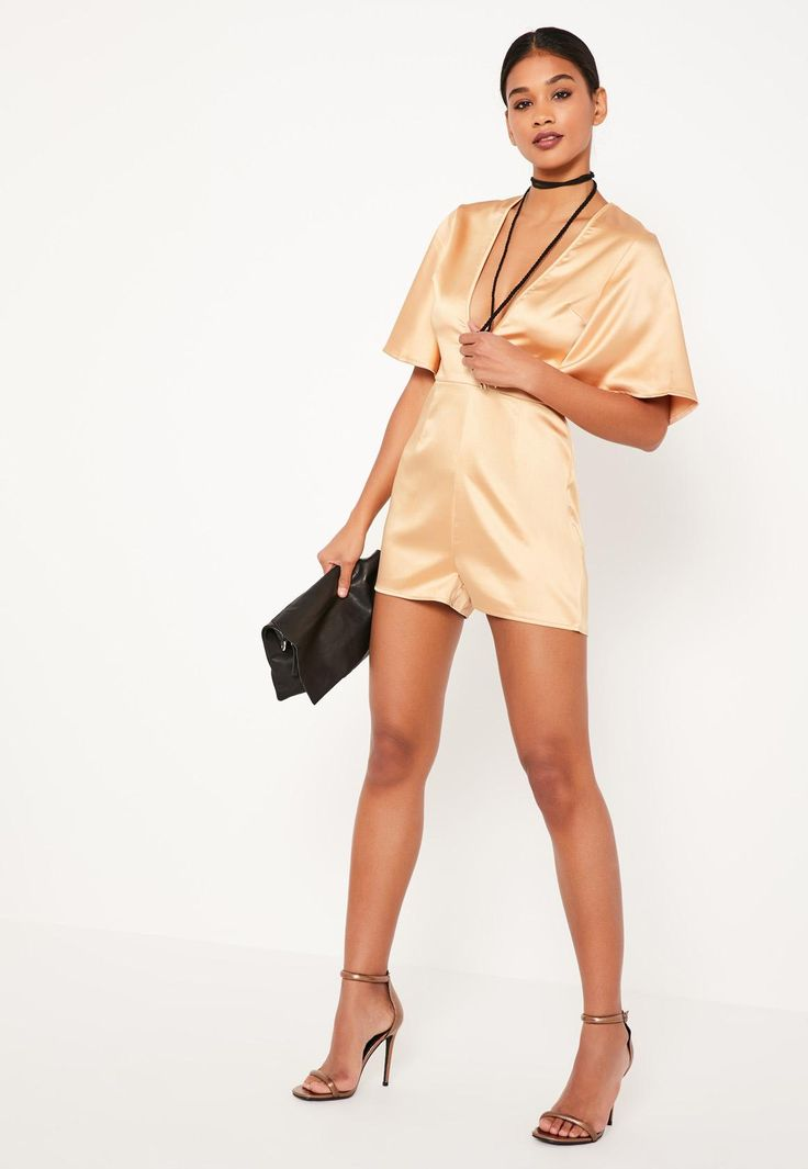 Missguided - Nude Wide Sleeve Plunge Satin Playsuit