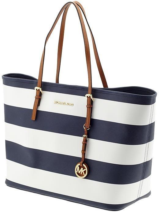 Michael Kors Jet Set Travel Medium Tote - navy blue & white stripes w/ brown leather straps