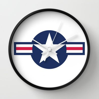 US Air force Roundel insignia Wall Clock by Bruce Stanfield - $30.00