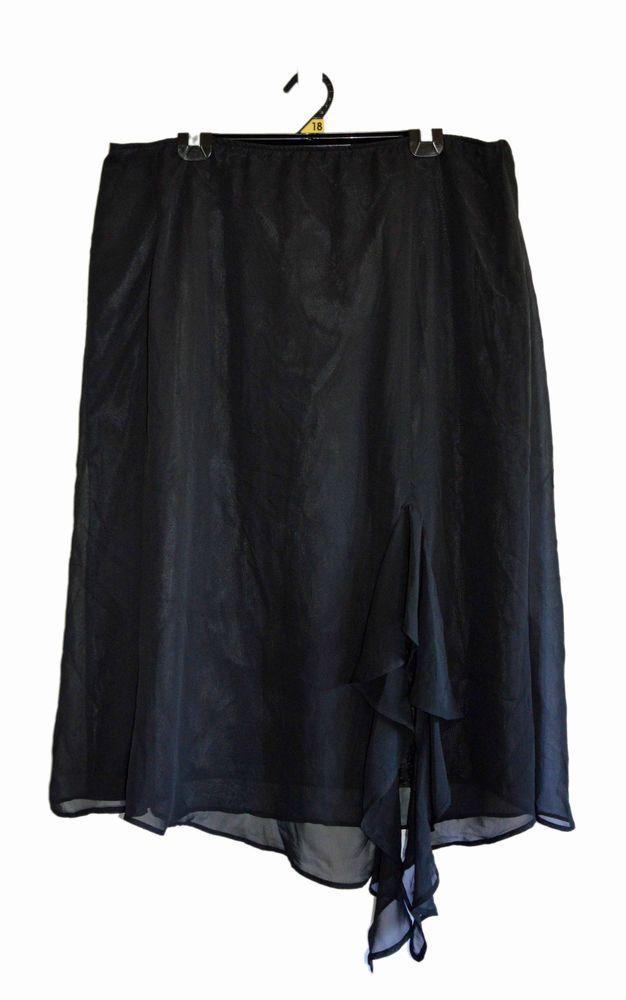 Free Postage (size 18) Big Advantage by City Chic - Black Chiffon Evening Skirt