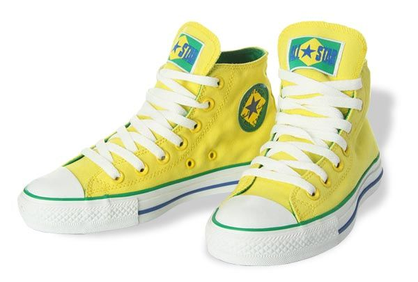 2010 Converse All Star World Cup Brazil Flag Yellow High Top Canvas Shoes