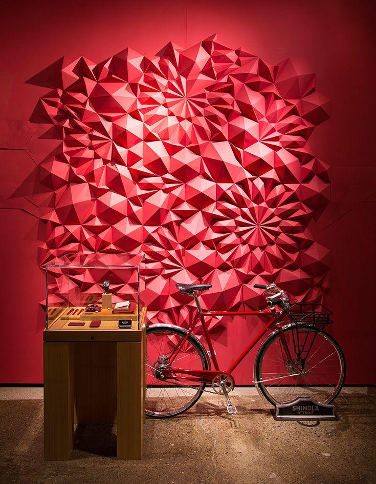 Paper art installation at @Shinola Detroit by artist Matt Shlian