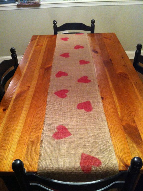Valentine craft, table runner OR stamp burlap and make Valentine Bunting!