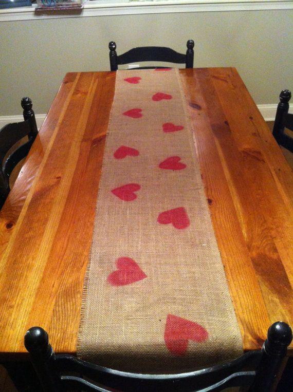 Valentine craft, table runner OR stamp burlap and make Valentine Bunting!