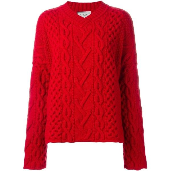 Lanvin Cable Knit v-Neck Jumper ($1,360) ❤ liked on Polyvore featuring tops, sweaters, red, wool v neck sweater, ribbed sweater, oversized sweaters, wool cable knit sweater and red sweater