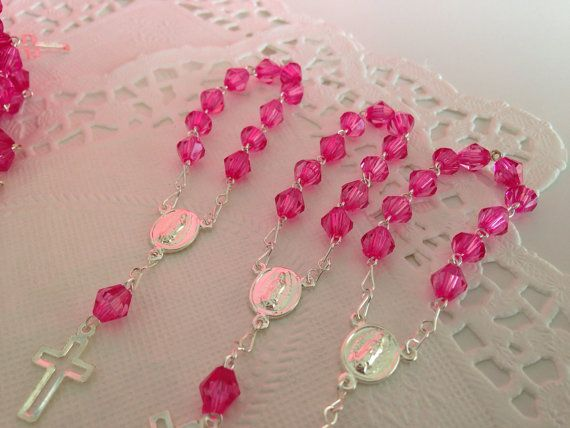 50 pc baptism favors hot pink acrylic beads/ by WEDDINGLASSOS