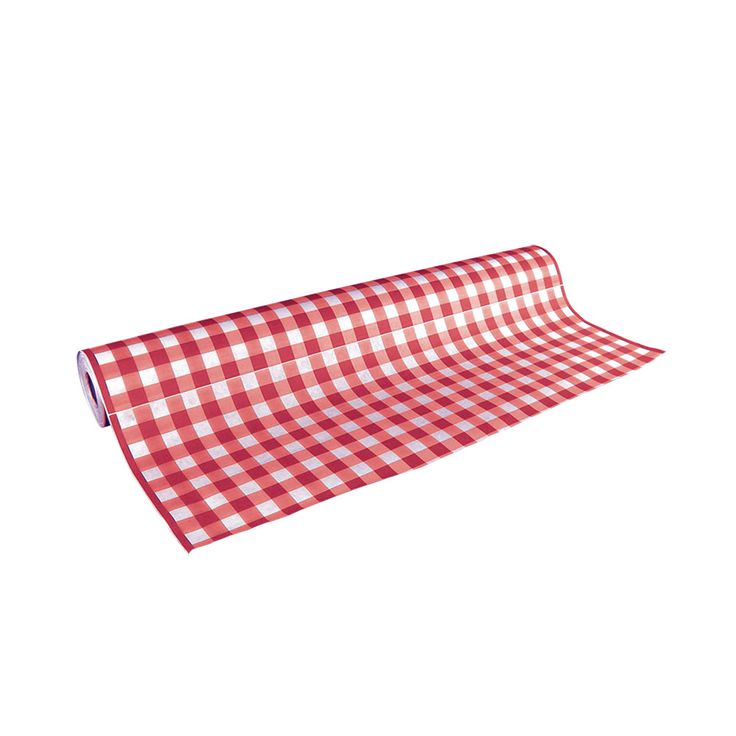 """40"""" x 300' Wide Paper Roll Table Cover with Red Gingham Pattern"""
