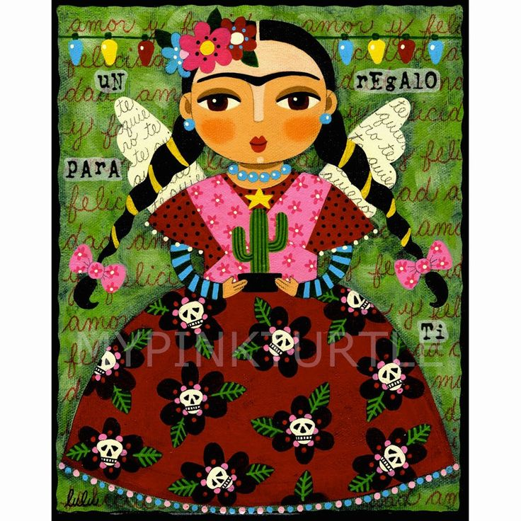 Frida Kahlo Angel With Cactus 8x10 Print Of Painting By LuLu Mypinkturtle At LuLuMypinkturtleArt On Etsy