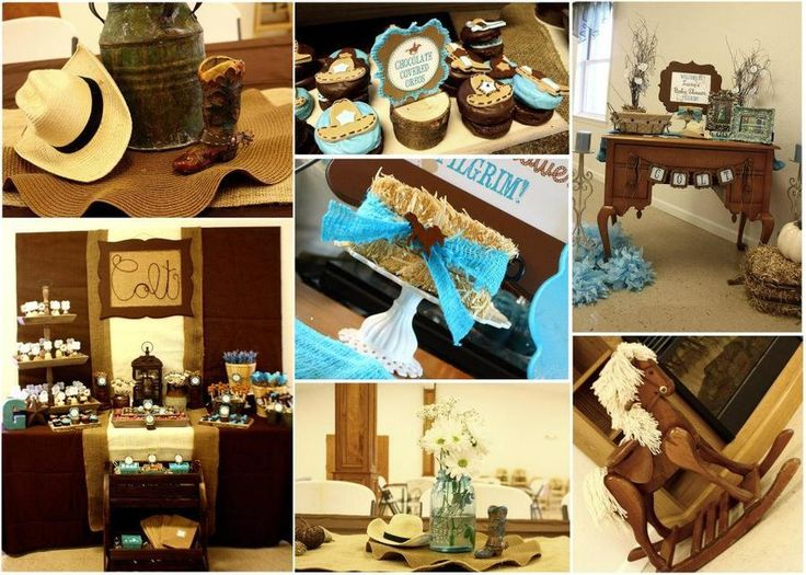 Blue And Brown Cowboy Theme For Boy Baby Shower Ideas