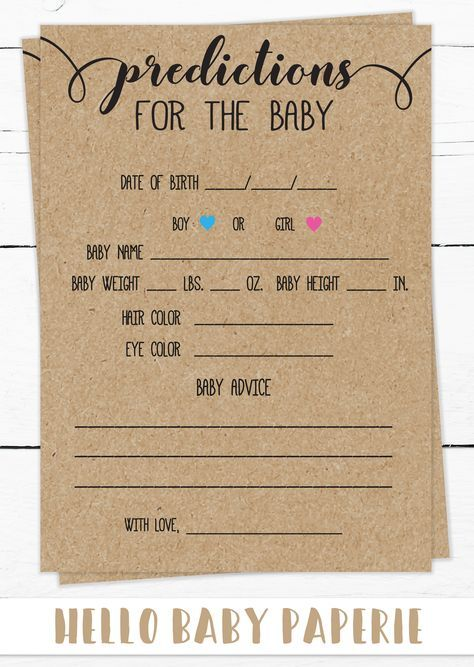 Predictions for the Baby, Baby Shower Game, Rustic Theme, Country Baby Shower, Baby Shower Ideas, Gender Neutral, Woodland, Kraft, R01