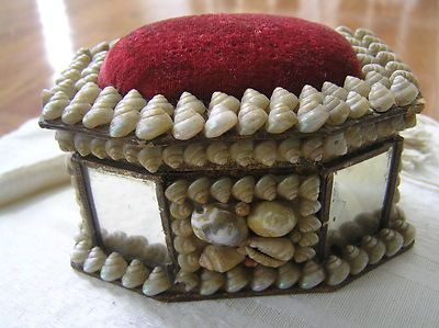 Victorian Antique Sailors Valentine Pin Cushion Red Velvet