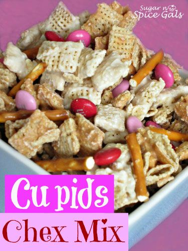 Cupids Chex Mix...This Chex mix is as good as cupids arrow. One bite and you will instantly fall in love! - Sugar n' Spice Gals  http://www.sugar-n-spicegals.com/2013/01/cupids-chex-mix.html