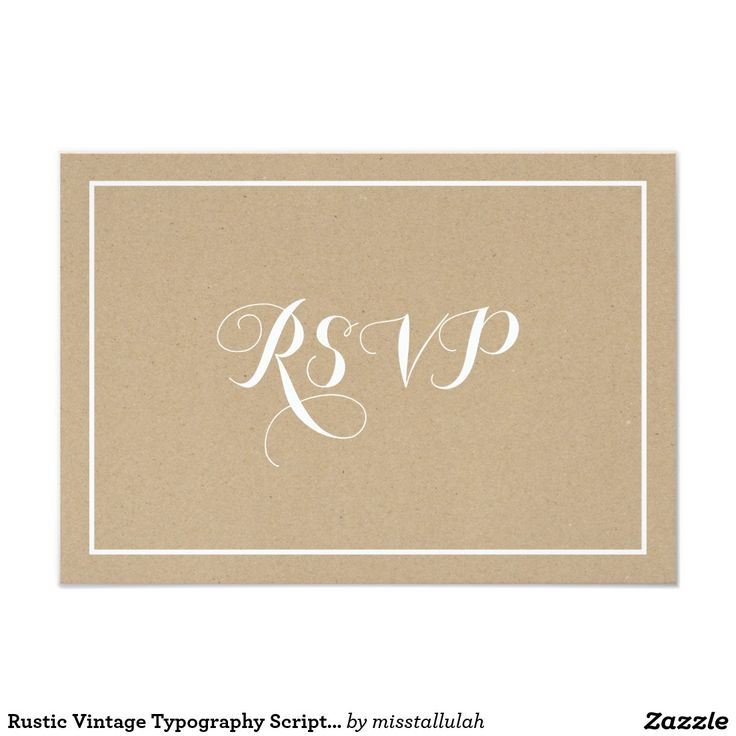 moroccan scroll wedding invitations%0A Rustic Vintage Typography Script RSVP Card