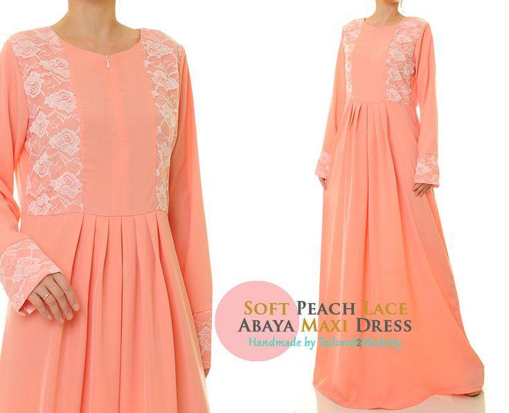 Peach Dress | Peach Maxi Dress | Summer Abaya Maxi Dress Long Sleeve | Long Sleeve Maxi Dress | Summer Maxi Dress 6213 by Tailored2Modesty on Etsy