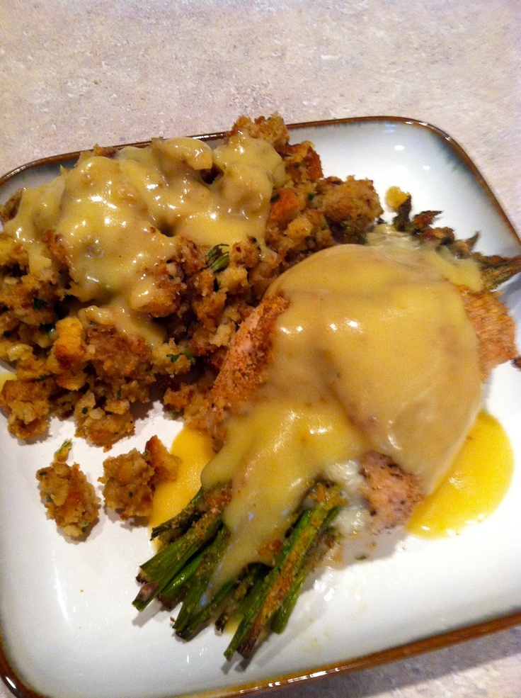 Looks impressive but so easy! Asparagus and Mozzarella Stuffed Chicken Breast with Hollandaise Sauce