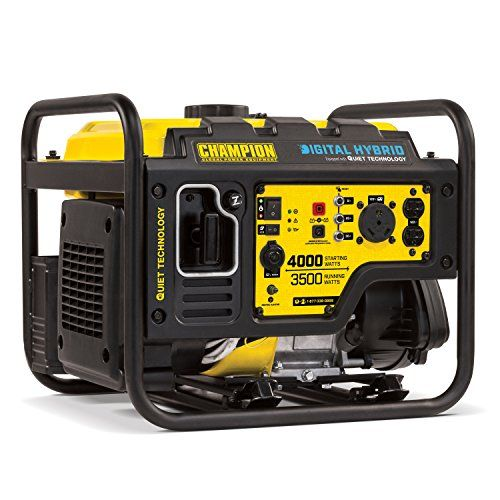 The Champion Power Equipment 100302 3500W digital Hybrid RV ready portable generator with quiet technology - 50% quieter & 20% lighter than a traditional 3500W Champion generator. By integrating digit...