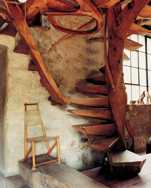 These stairs would look great in a log cabin smallspacesblog: from Handcrafted Modern by Leslie Williamson
