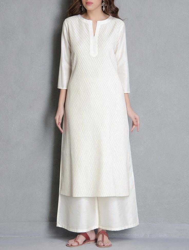 Buy Cream Pintuck Detailed Katan Silk Kurta Apparel Tunics & Kurtas Pretty…