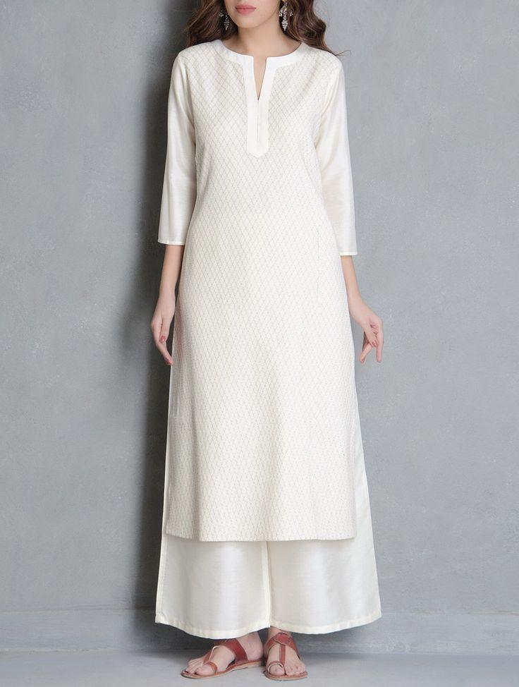 Buy Cream Pintuck Detailed Katan Silk Kurta Apparel Tunics & Kurtas Pretty Please! Palazzos Pants Online at Jaypore.com