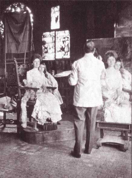 Sargent painting Gretchen Warren and her daughter Rachel in the Gothic Room at Isabella Stewart Gardner's house.