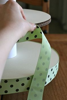 Cupcake Stand// Replace mint ribbon with gold ribbon
