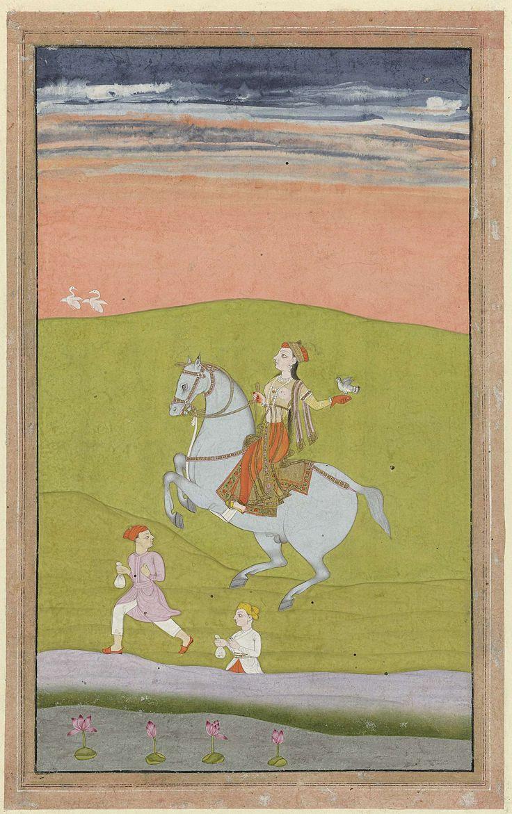 Anonymous | Koningin Shand Bibi te paard, Anonymous, 1780 | Een jonge vrouw berijdt een grijs paard, op haar naar achteren uitgestekte linkerhand zit een valk, op de voorgrond hollen twee jonge dienaren met zakjes in de hand mee. De voorstelling is gevat in een donkere zwarte kaderlijn, daaromheen een lichtbruine rand met dunne zwarte kaderlijnen en tenslotte een roze rand met een witte kaderlijn