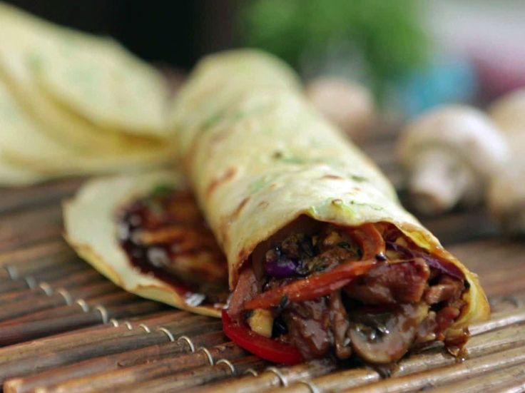 Mu Shu Chicken with Scallion Crepes! Recipe : Guy Fieri : Food Network - FoodNetwork.com