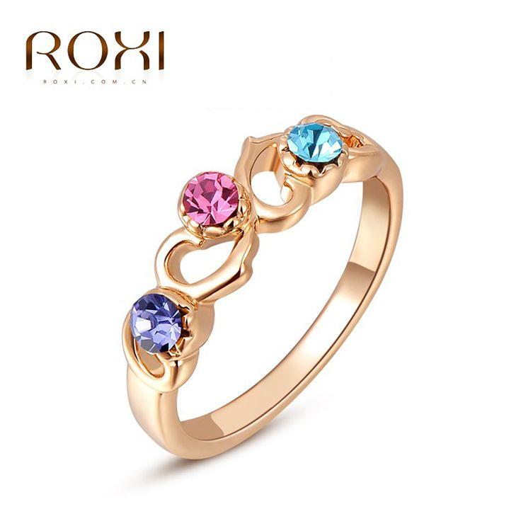 ROXI Ringen Voor Vrouwen Classic Echte Oostenrijkse Kristallen Rose Vergulde Kleurrijke Stenen Hart Ring Mode-sieraden Voor Party
