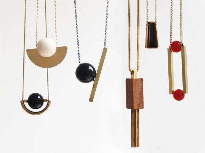 contemporary jewellery - geometric pendant necklaces by Eva Duenas
