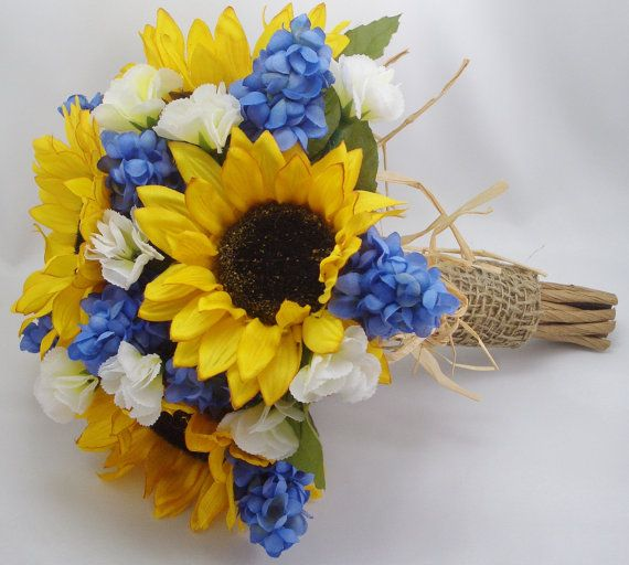Sunflower and Muscari Bridal Bouquet Wedding by FlowersForThought