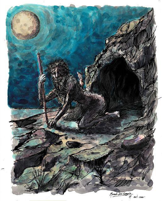 EL INVUNCHE, mitología de Chiloé (acuarela y pluma, 21 x 27 ctms) ~ Seres Mitológicos de Chile - Bestiario Chileno. Marcelo Lira Segovia