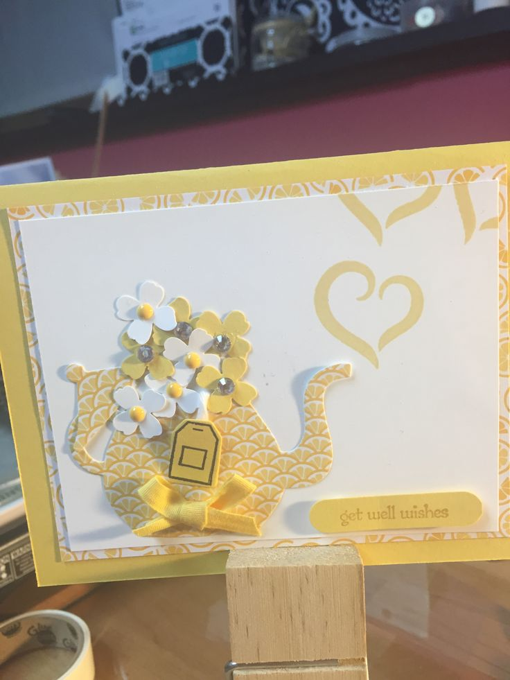 Get well wishes using the cup and kettle framelit die and a nice cuppa stamp set from SU