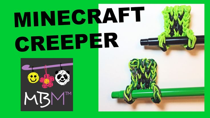 Rainbow Loom Minecraft Creeper - Pencil Hugger Charm #11