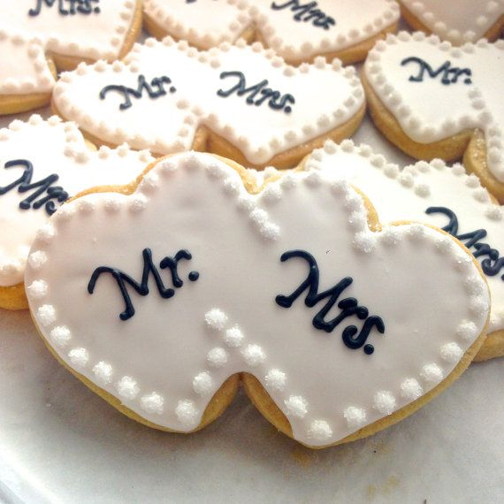 Mr. & Mrs. Heart Wedding Cookies by FlavorPursuit on Etsy, $35.00