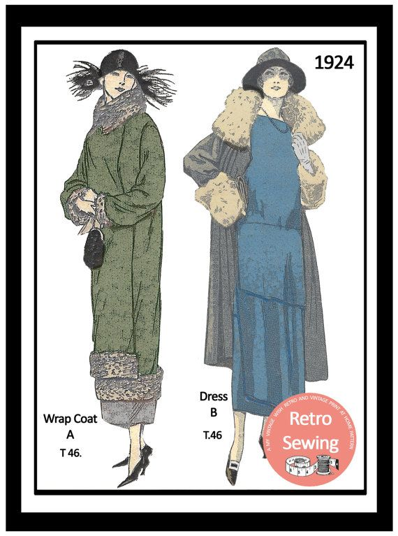 1920s Dress & Coat Sewing Pattern - Paper Sewing Pattern - Downton - Flapper