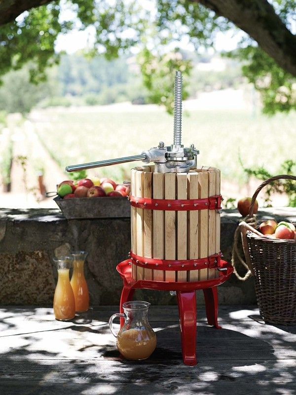 Cider and Wine Press. This classically designed barrel-shaped press makes quick and easy work of pressing fruit into juice at home. Enjoy the juice fresh, or use it to make cider or wine.