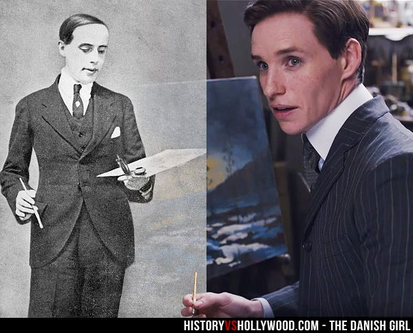 Einar Wegener / Lili Elbe in real life and actor Eddie Redmayne in The Danish Girl movie. Read 'The Danish Girl: History vs. Hollywood' - http://www.historyvshollywood.com/reelfaces/danish-girl/