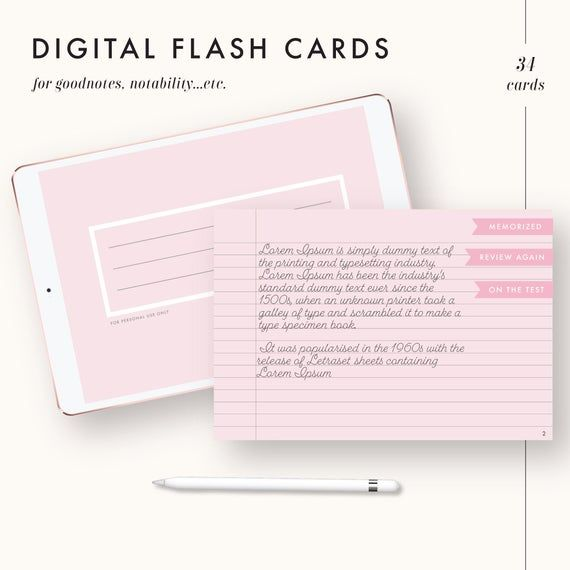 These Flashcards Are Designed To Be Used With Any Pdf Annotation App On Your Ipad Or Tablet Device The Great Thing About Notes Template Good Notes Flashcards