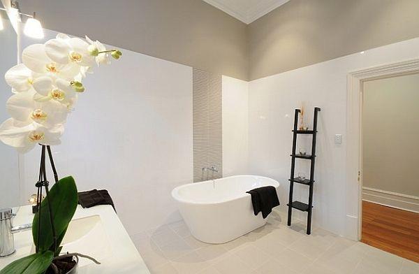 Black ladder shelf offers cool visual contrast