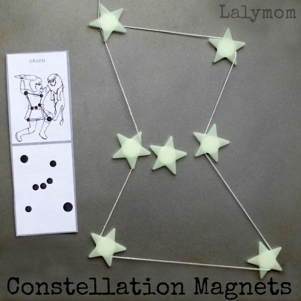 Activity to teach constellations for kids. Easy star magnets and a fun way to connect them shows kids how to form the basic constellations.