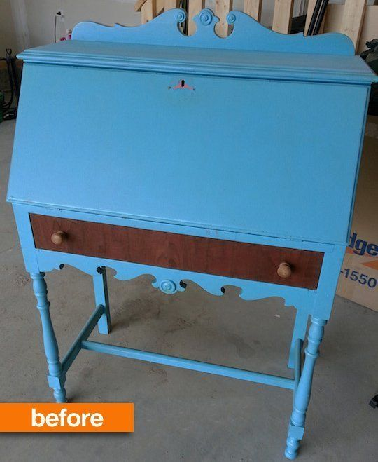 My Hand painted secretary desk makeover was featured at Apartment Therapy!  Before & After: A Honey of a Secretary Desk Update | Apartment Therapy
