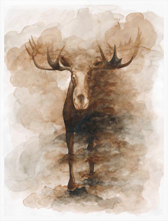 Moose Watercolor Print $45.00 on Etsy