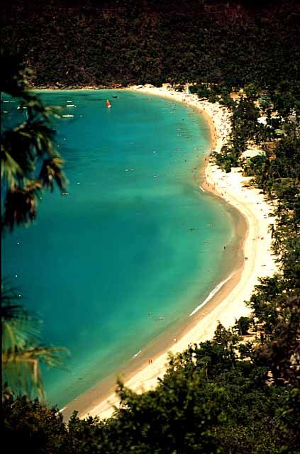 Megan's Bay St. Thomas Virgin Islands.  Went here on my Honeymoon.  Its shaped like a heart!  1 of the top 10 beaches in te world!  Awesome!